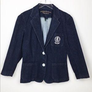 Ralph Lauren jeans denim blazer w/ crest